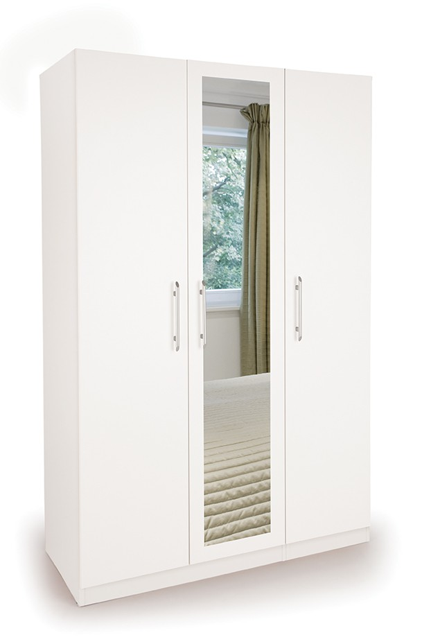 Angel 3 Door Wardrobe with 1 Mirrored Door ( H151233 )