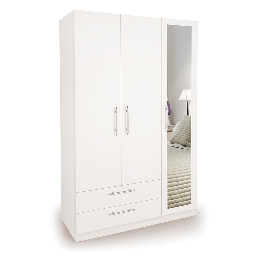 Angel 3 Door Wardrobe with 1 Mirrored Door and 2 Wide Drawers