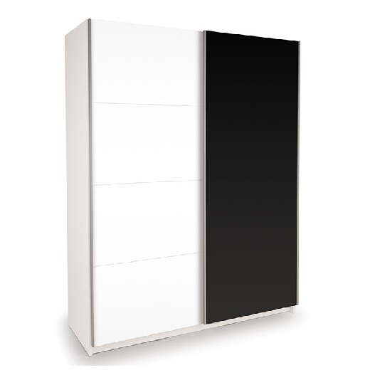 Dallas White Sliding Door Wardrobe High Gloss Black and White