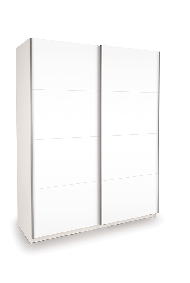 Dallas White Sliding Door Wardrobe Double High Gloss White ( H1