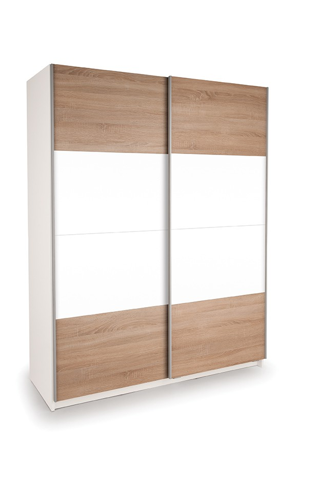 Dallas White Sliding Door Wardrobe High Gloss White and Oak ( H