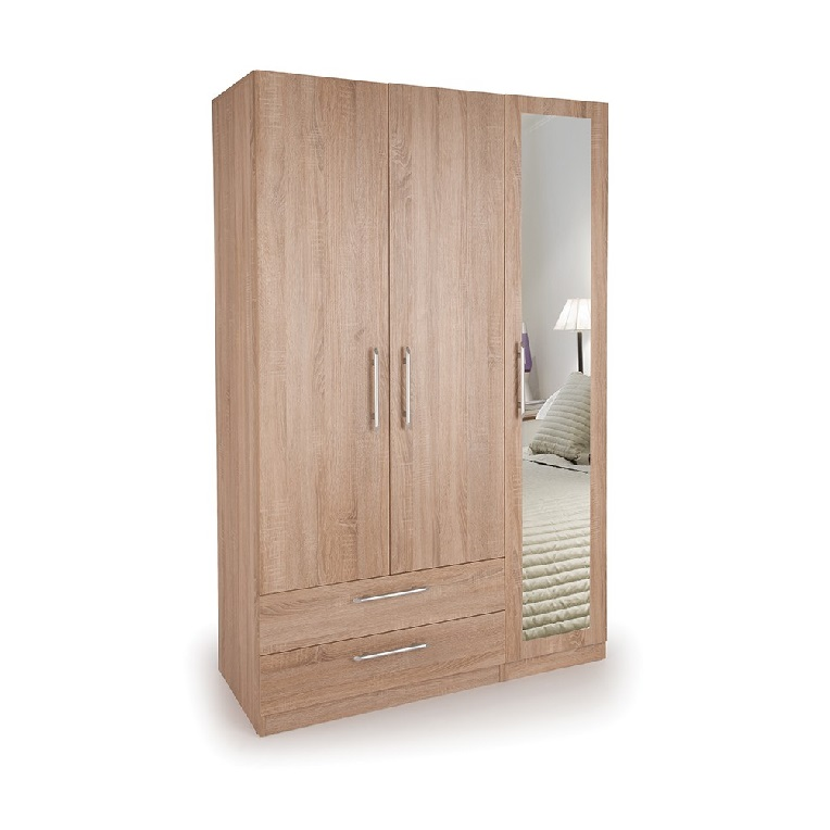 Holborn 3 Door Wardrobe with 1 Mirrored Door and 2 Wide Drawers