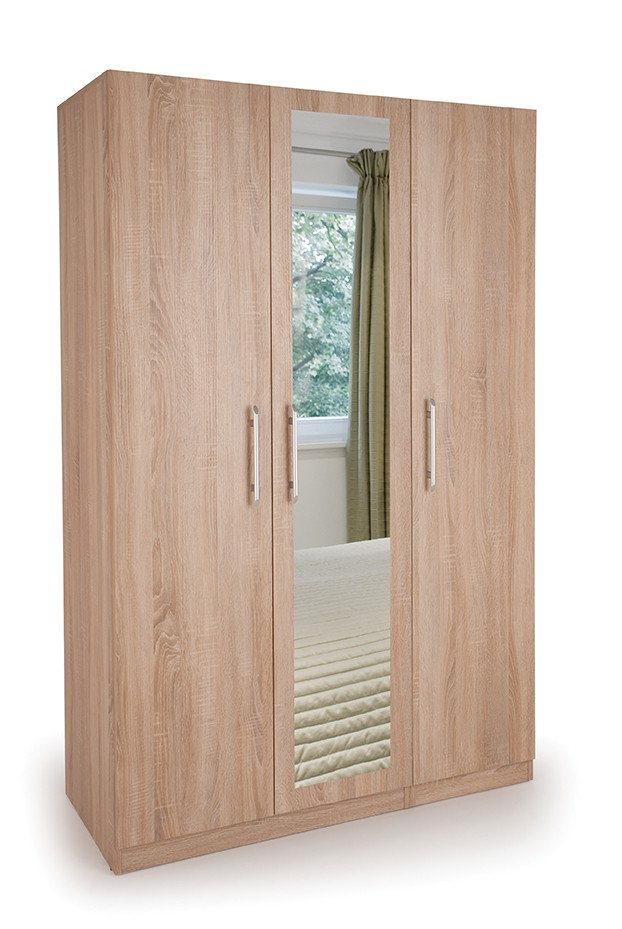 Holborn 3 Door Wardrobe with 1 Mirrored Door ( H151269 )