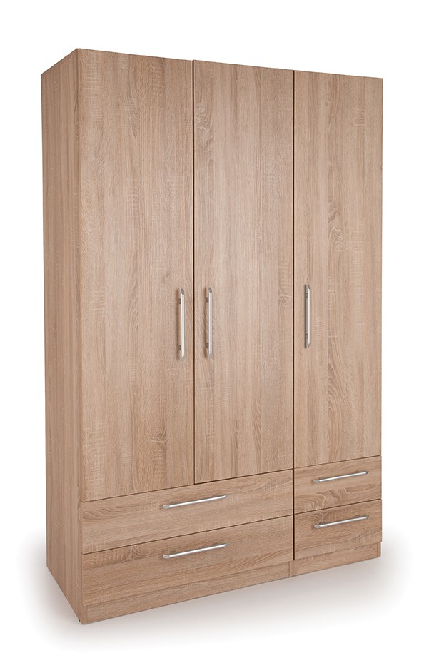 Holborn 3 Door Wardrobe with 4 Drawers ( H151271 )