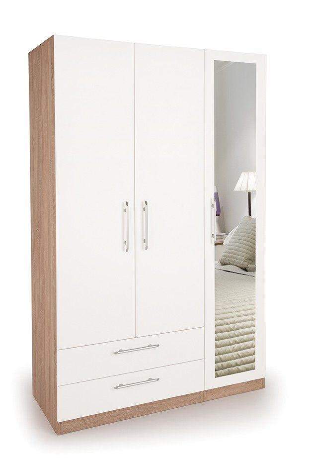 Hyde 3 Door Wardrobe with 1 Mirrored Door and 2 Wide Drawers ( H