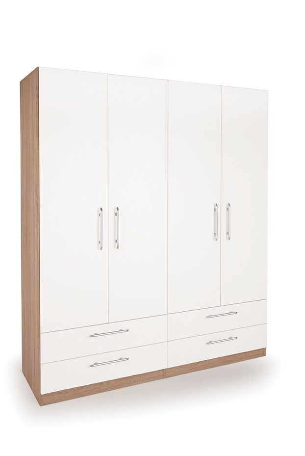 Hyde 4 Door Wardrobe with 4 Wide Drawers ( H151285 )