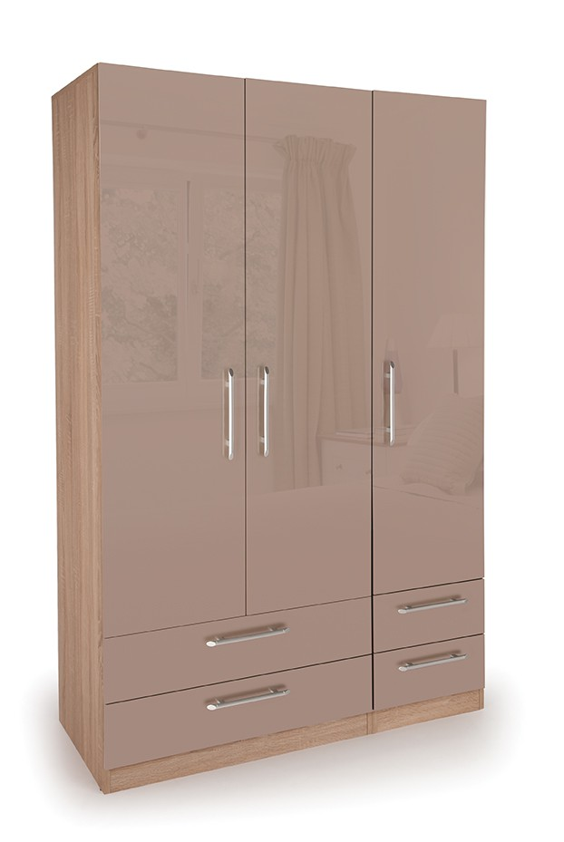 Oval 3 Door Wardrobe with 4 Drawers ( H151307 )